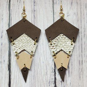 3-Color Leather Earrings.